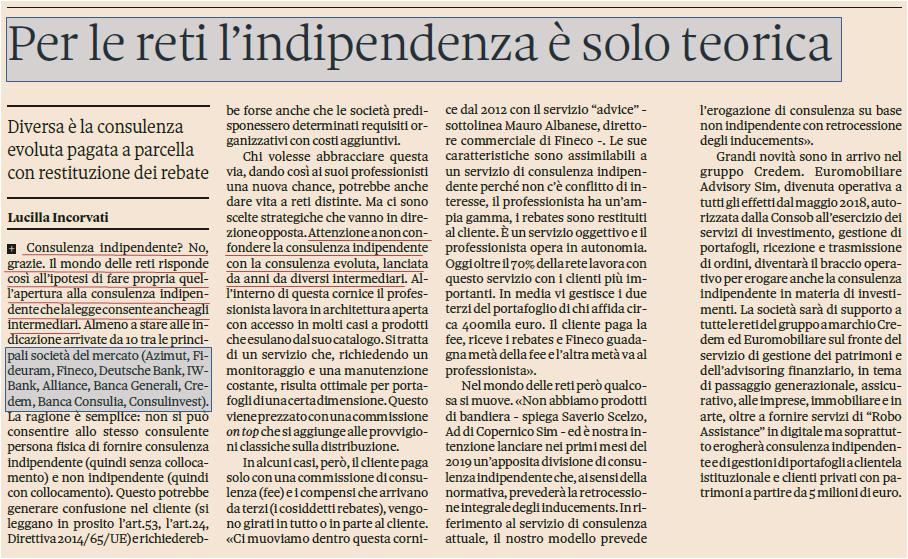 Per le reti (promotori, private banker), l'indipendenza è solo teorica
